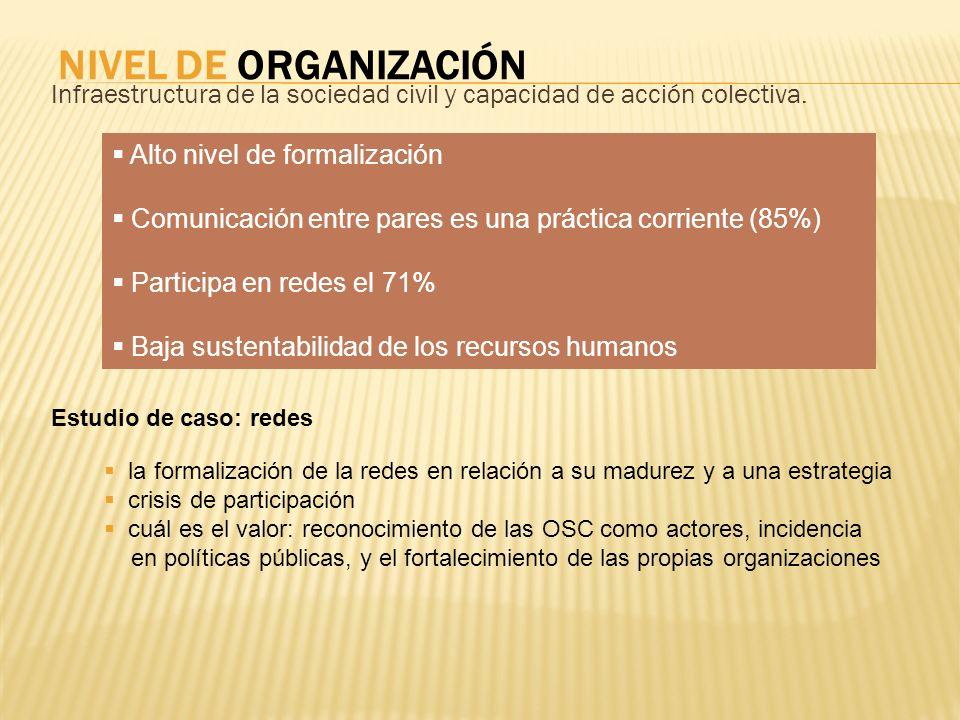 NIVEL DE ORGANIZACIÓN Infraestructura de la sociedad civil y capacidad de acción colectiva. Alto nivel de formalización Comunicación entre pares es un
