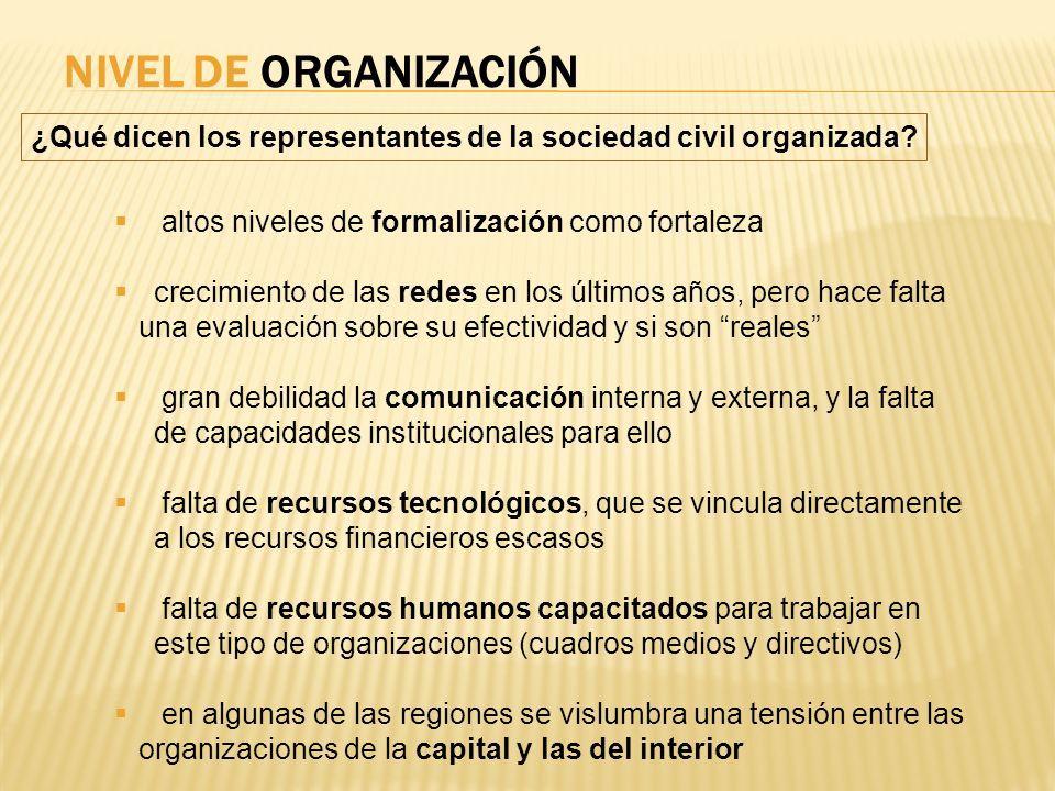NIVEL DE ORGANIZACIÓN ¿Qué dicen los representantes de la sociedad civil organizada? altos niveles de formalización como fortaleza crecimiento de las