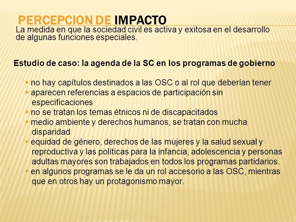 PERCEPCION DE IMPACTO La medida en que la sociedad civil es activa y exitosa en el desarrollo de algunas funciones especiales. Estudio de caso: la age