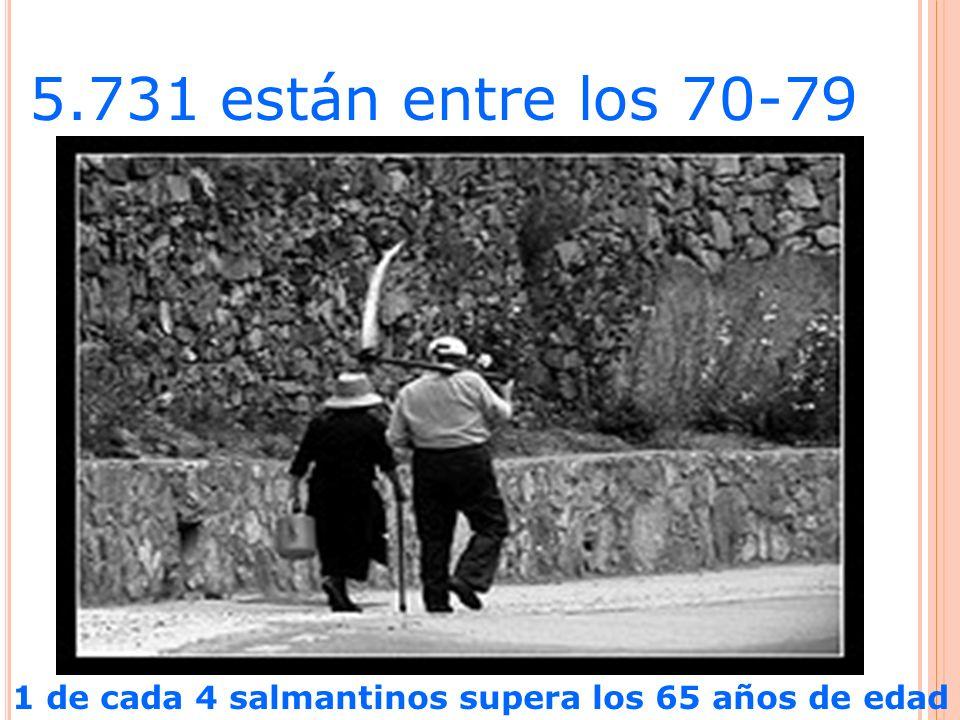 5.731 están entre los 70-79 1 de cada 4 salmantinos supera los 65 años de edad