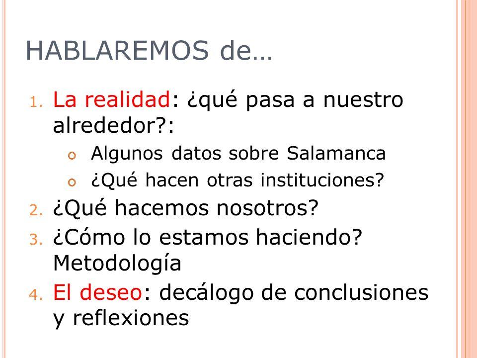 HABLAREMOS de… 1. La realidad: ¿qué pasa a nuestro alrededor?: Algunos datos sobre Salamanca ¿Qué hacen otras instituciones? 2. ¿Qué hacemos nosotros?