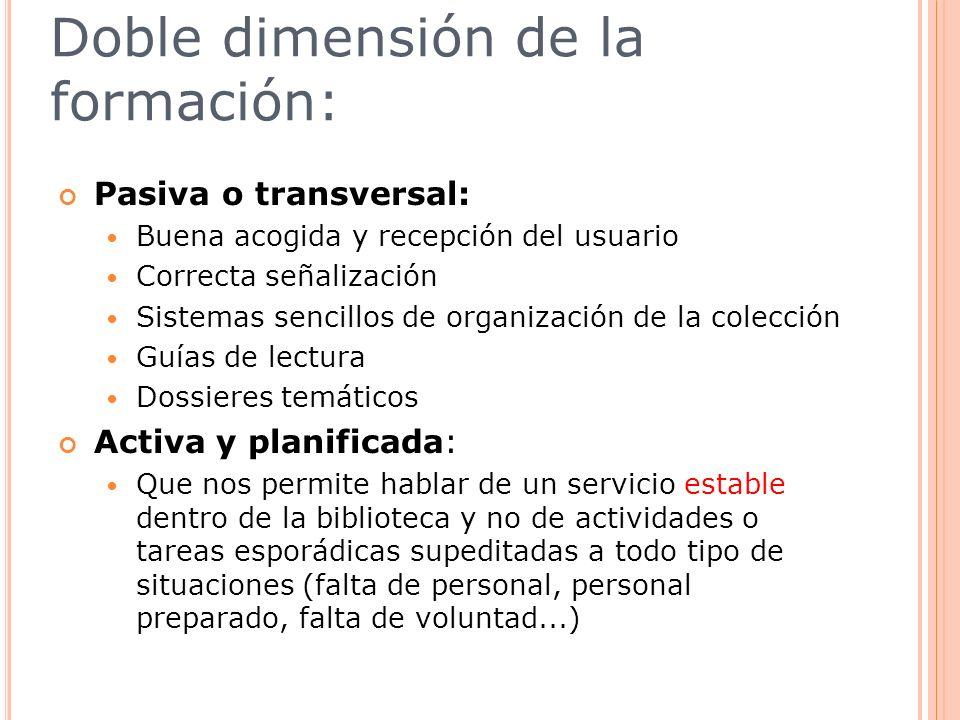 Doble dimensión de la formación: Pasiva o transversal: Buena acogida y recepción del usuario Correcta señalización Sistemas sencillos de organización