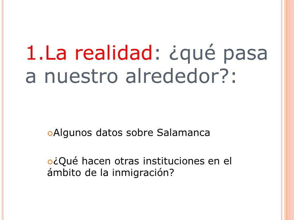 1.La realidad: ¿qué pasa a nuestro alrededor?: Algunos datos sobre Salamanca ¿Qué hacen otras instituciones en el ámbito de la inmigración?