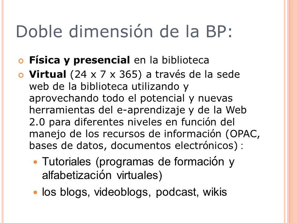 Doble dimensión de la BP: F í sica y presencial en la biblioteca Virtual (24 x 7 x 365) a trav é s de la sede web de la biblioteca utilizando y aprove