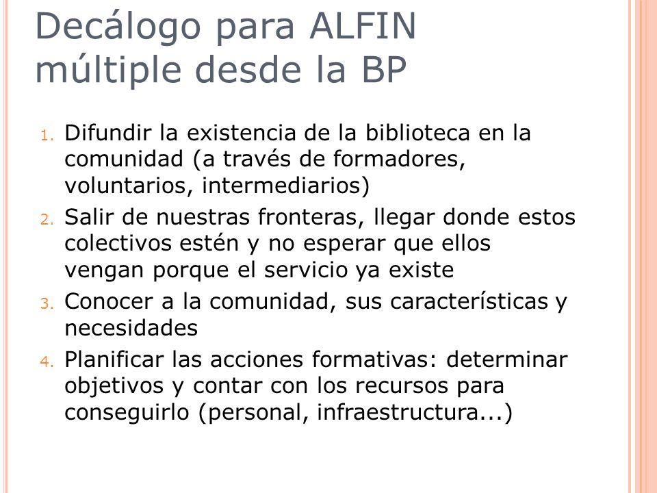 Decálogo para ALFIN múltiple desde la BP 1. Difundir la existencia de la biblioteca en la comunidad (a través de formadores, voluntarios, intermediari