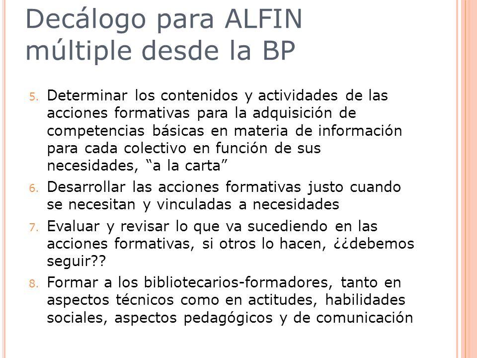 Decálogo para ALFIN múltiple desde la BP 5. Determinar los contenidos y actividades de las acciones formativas para la adquisición de competencias bás
