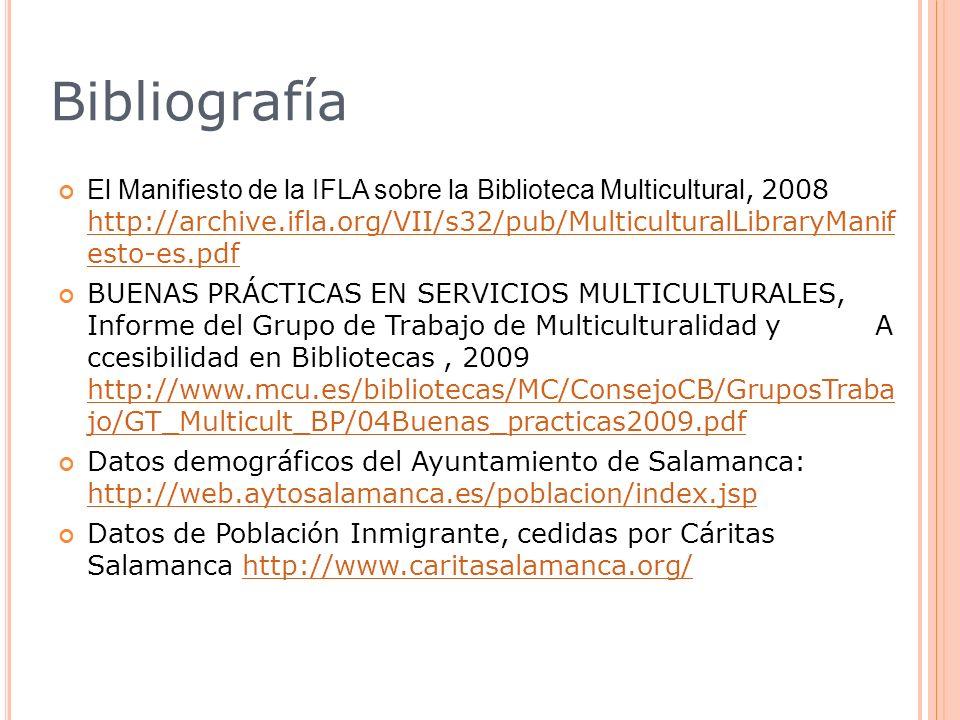 Bibliografía El Manifiesto de la IFLA sobre la Biblioteca Multicultural, 2008 http://archive.ifla.org/VII/s32/pub/MulticulturalLibraryManif esto-es.pd