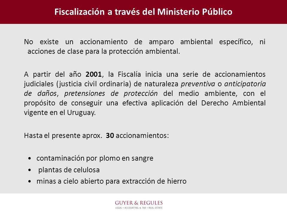 Fiscalización a través del Ministerio Público No existe un accionamiento de amparo ambiental específico, ni acciones de clase para la protección ambie