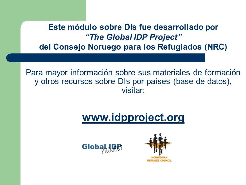 Conclusiones Los Principios Rectores reafirman los derechos de los DIs y los deberes de los responsables.