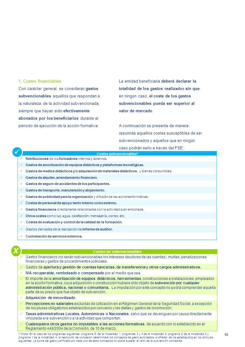 15 1. Costes financiables Con carácter general, se consideran gastos subvencionables aquellos que respondan a la naturaleza de la actividad subvencion