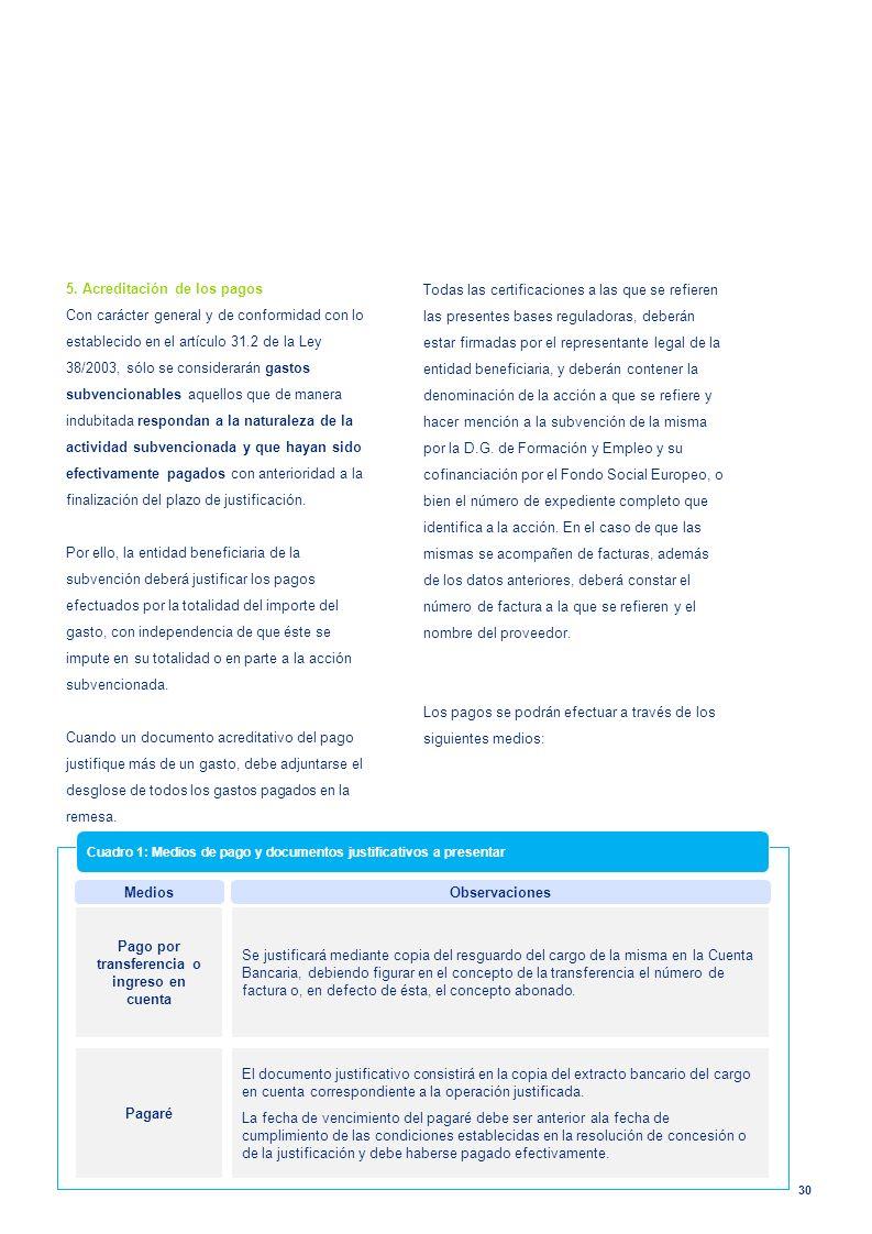 30 5. Acreditación de los pagos Con carácter general y de conformidad con lo establecido en el artículo 31.2 de la Ley 38/2003, sólo se considerarán g