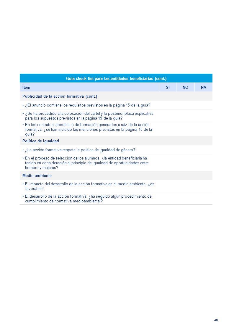 48 Guía check list para las entidades beneficiarias (cont.) ÍtemSíNONA Publicidad de la acción formativa (cont.) ¿El anuncio contiene los requisitos p
