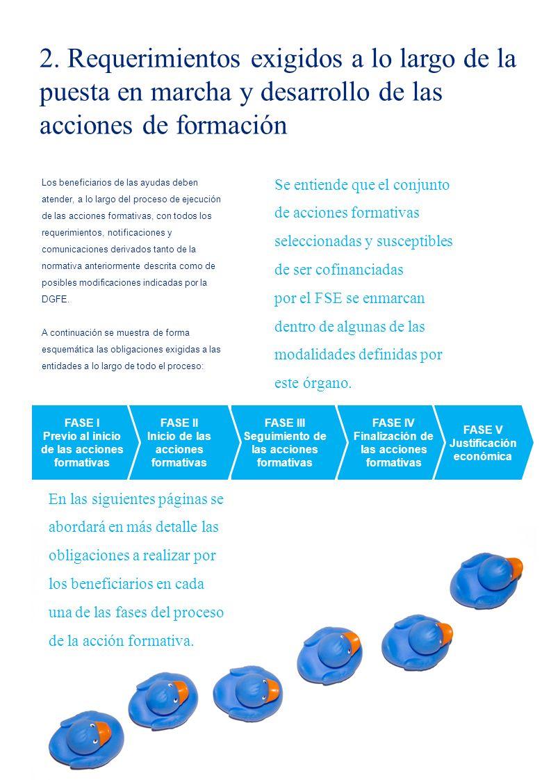 5 FASE V Justificación económica FASE IV Finalización de las acciones formativas Los beneficiarios de las ayudas deben atender, a lo largo del proceso