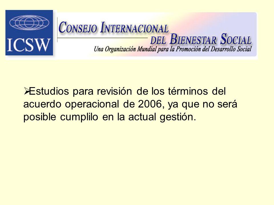 Estudios para revisión de los términos del acuerdo operacional de 2006, ya que no será posible cumplilo en la actual gestión.