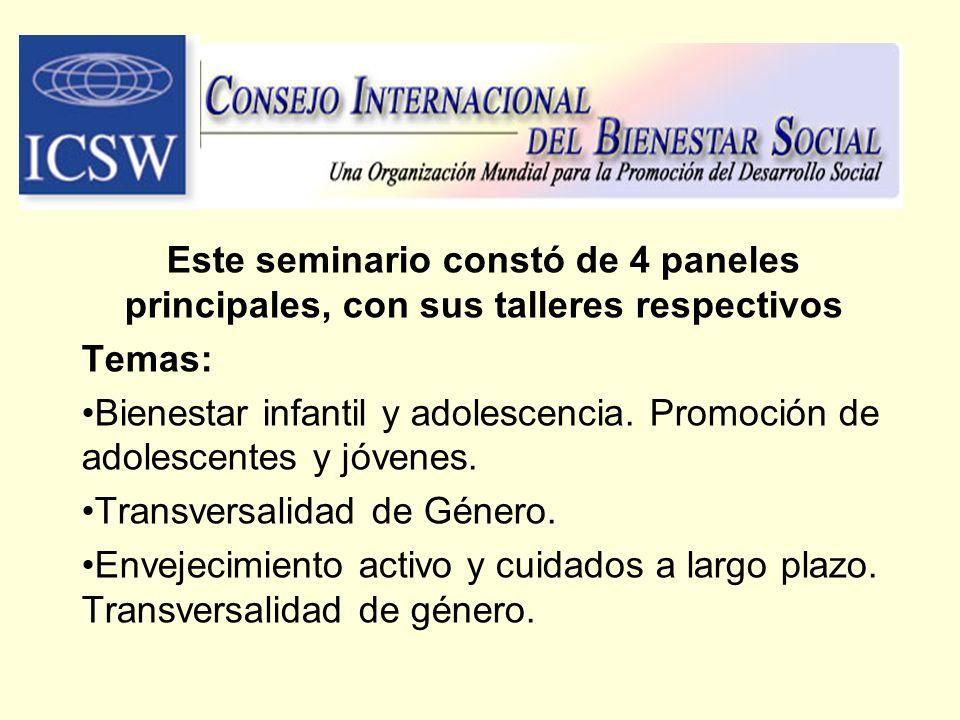 Este seminario constó de 4 paneles principales, con sus talleres respectivos Temas: Bienestar infantil y adolescencia. Promoción de adolescentes y jóv