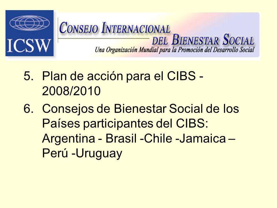 5.Plan de acción para el CIBS - 2008/2010 6.Consejos de Bienestar Social de los Países participantes del CIBS: Argentina - Brasil -Chile -Jamaica – Pe