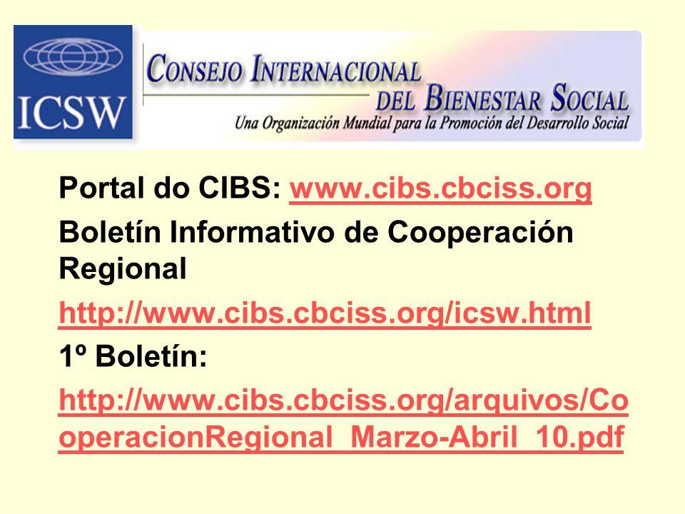 Portal do CIBS: www.cibs.cbciss.orgwww.cibs.cbciss.org Boletín Informativo de Cooperación Regional http://www.cibs.cbciss.org/icsw.html 1º Boletín: ht