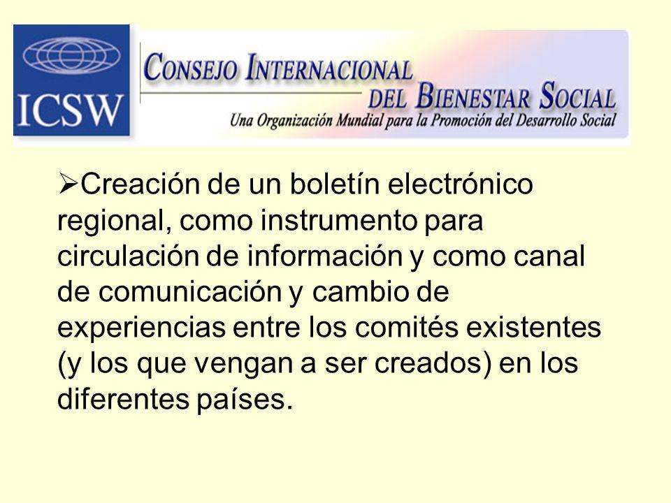 Creación de un boletín electrónico regional, como instrumento para circulación de información y como canal de comunicación y cambio de experiencias en