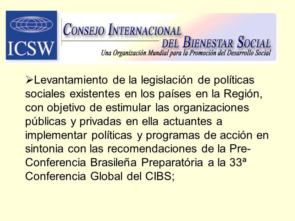 Levantamiento de la legislación de políticas sociales existentes en los países en la Región, con objetivo de estimular las organizaciones públicas y p