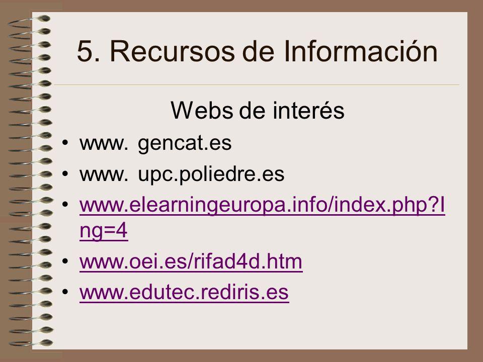 5. Recursos de Información Webs de interés www. gencat.es www. upc.poliedre.es www.elearningeuropa.info/index.php?I ng=4www.elearningeuropa.info/index