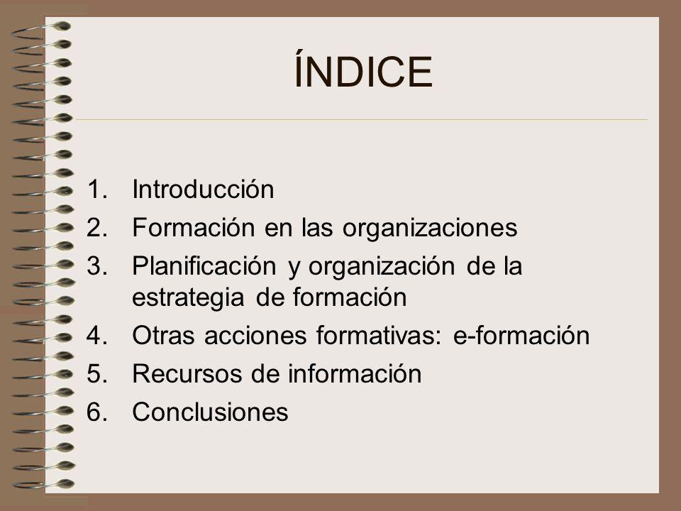 ÍNDICE 1.Introducción 2.Formación en las organizaciones 3.Planificación y organización de la estrategia de formación 4.Otras acciones formativas: e-fo