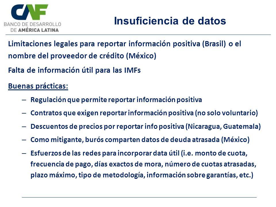 Insuficiencia de datos Limitaciones legales para reportar información positiva (Brasil) o el nombre del proveedor de crédito (México) Falta de informa