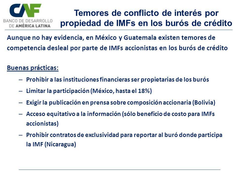 Temores de conflicto de interés por propiedad de IMFs en los burós de crédito Buenas prácticas: – Prohibir a las instituciones financieras ser propiet