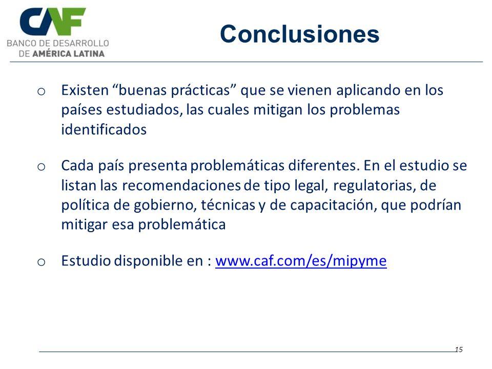 Conclusiones 15 o Existen buenas prácticas que se vienen aplicando en los países estudiados, las cuales mitigan los problemas identificados o Cada paí