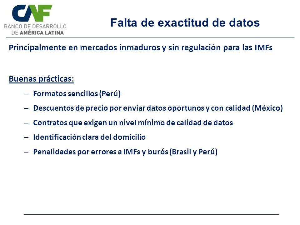 Falta de exactitud de datos Principalmente en mercados inmaduros y sin regulación para las IMFs Buenas prácticas: – Formatos sencillos (Perú) – Descue