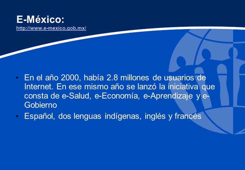 E-México: http://www.e-mexico.gob.mx/ http://www.e-mexico.gob.mx/ En el año 2000, había 2.8 millones de usuarios de Internet. En ese mismo año se lanz
