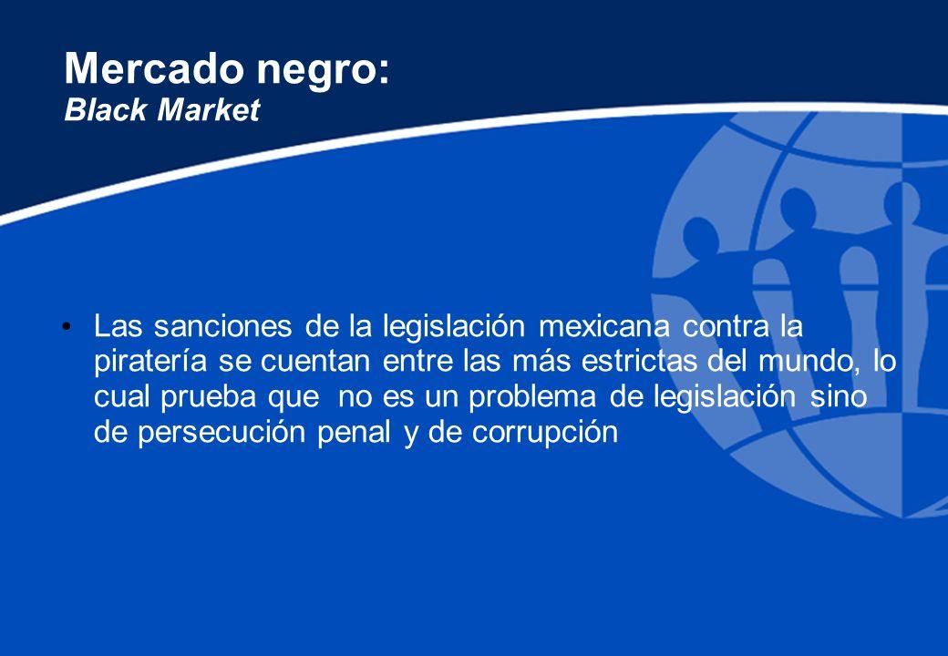 Mercado negro: Black Market Las sanciones de la legislación mexicana contra la piratería se cuentan entre las más estrictas del mundo, lo cual prueba