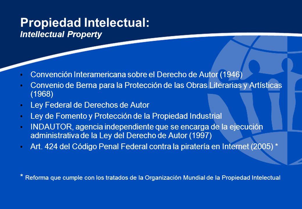 Propiedad Intelectual: Intellectual Property Convención Interamericana sobre el Derecho de Autor (1946) Convenio de Berna para la Protección de las Ob