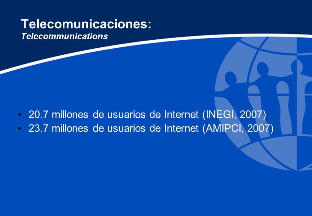 Telecomunicaciones: Telecommunications 635 celulares por cada 1000 habitantes (Antonio Avalón) 15 209 aulas para un millón de alumnos de telesecundaria