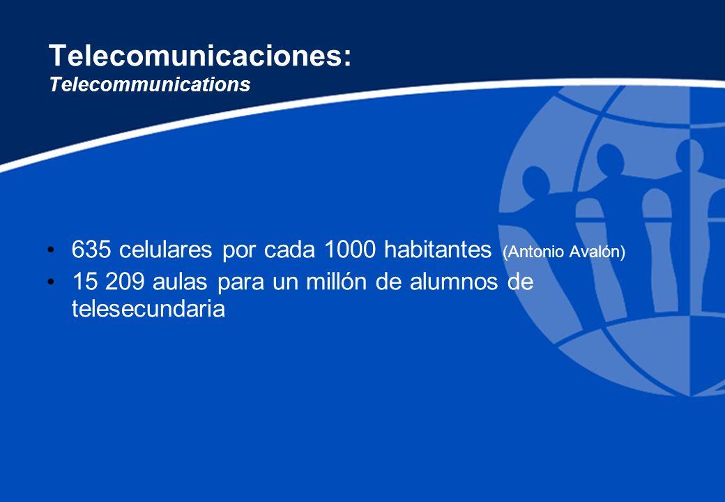Telecomunicaciones: Telecommunications 635 celulares por cada 1000 habitantes (Antonio Avalón) 15 209 aulas para un millón de alumnos de telesecundari