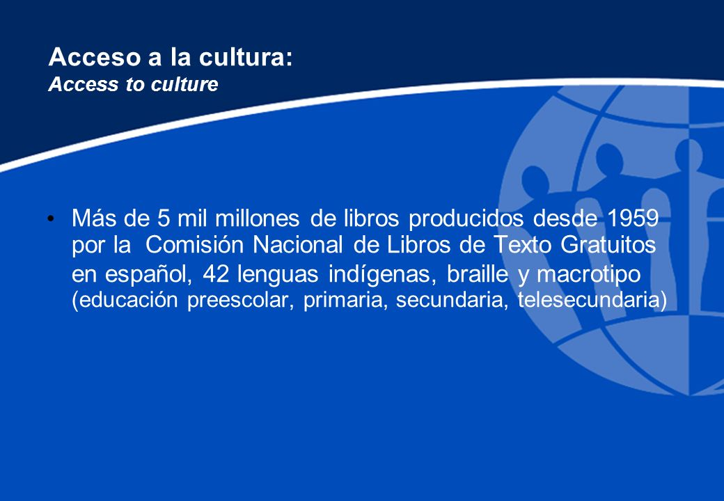 Acceso a la cultura: Access to culture Hay 7,200 bibliotecas públicas Fondo de Cultura Económica, con miles de títulos