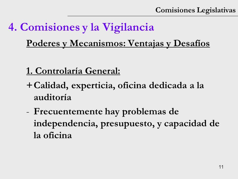 11 Comisiones Legislativas Poderes y Mecanismos: Ventajas y Desafíos 1. Controlaría General: +Calidad, experticia, oficina dedicada a la auditoría -Fr