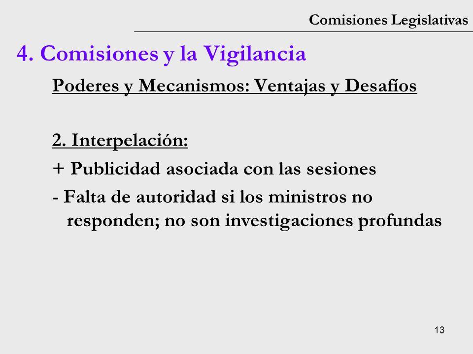 13 Comisiones Legislativas Poderes y Mecanismos: Ventajas y Desafíos 2. Interpelación: + Publicidad asociada con las sesiones - Falta de autoridad si