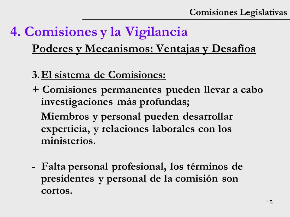 15 Comisiones Legislativas Poderes y Mecanismos: Ventajas y Desafíos 3.El sistema de Comisiones: + Comisiones permanentes pueden llevar a cabo investi