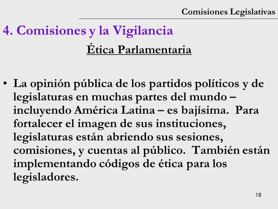 18 Comisiones Legislativas 4. Comisiones y la Vigilancia Ética Parlamentaria La opinión pública de los partidos políticos y de legislaturas en muchas
