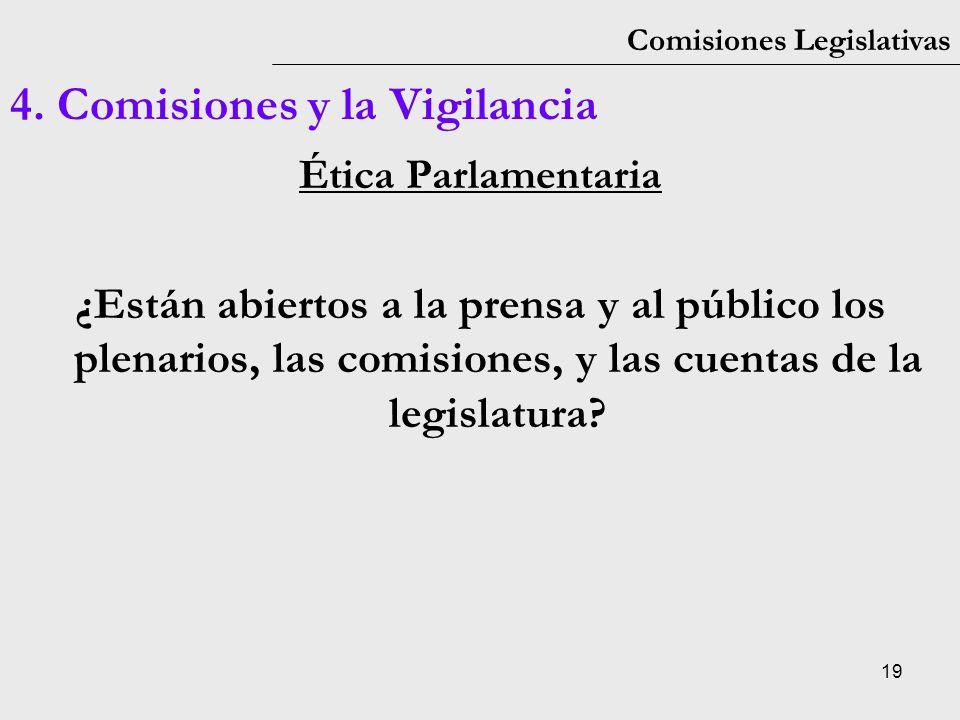 19 Comisiones Legislativas 4. Comisiones y la Vigilancia Ética Parlamentaria ¿Están abiertos a la prensa y al público los plenarios, las comisiones, y