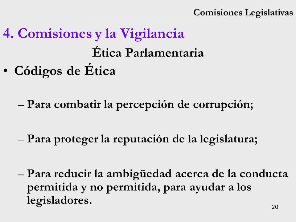 20 Comisiones Legislativas 4. Comisiones y la Vigilancia Ética Parlamentaria Códigos de Ética –Para combatir la percepción de corrupción; –Para proteg