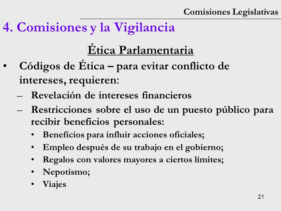 21 Comisiones Legislativas 4. Comisiones y la Vigilancia Ética Parlamentaria Códigos de Ética – para evitar conflicto de intereses, requieren : –Revel