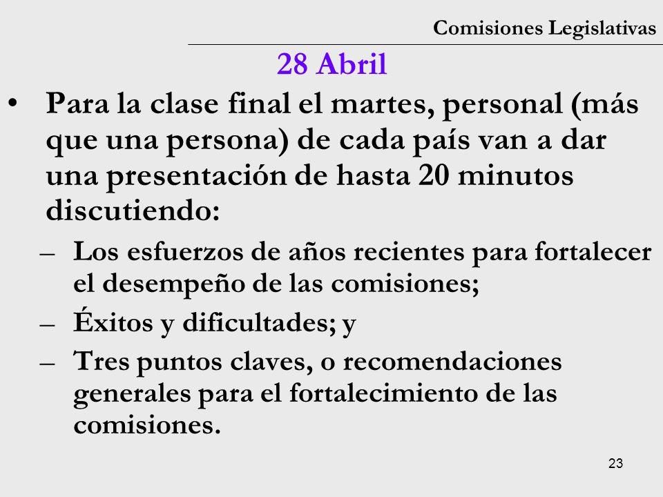 23 Comisiones Legislativas 28 Abril Para la clase final el martes, personal (más que una persona) de cada país van a dar una presentación de hasta 20