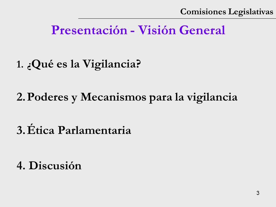 3 Comisiones Legislativas 1.¿ Qué es la Vigilancia? 2.Poderes y Mecanismos para la vigilancia 3.Ética Parlamentaria 4. Discusión Presentación - Visión