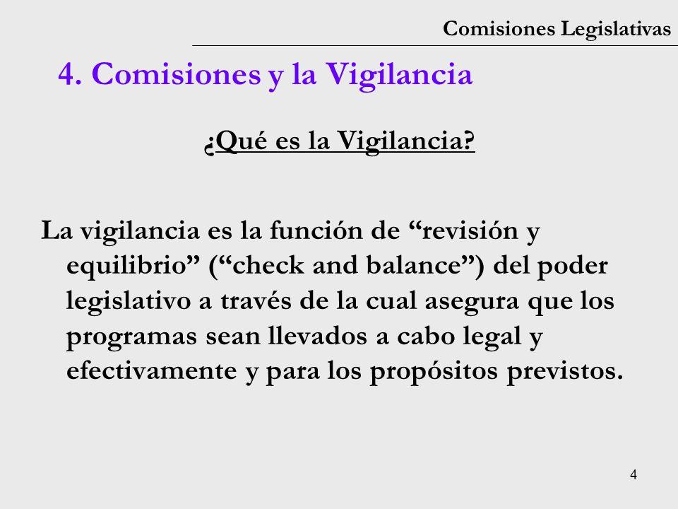 4 Comisiones Legislativas ¿Qué es la Vigilancia? La vigilancia es la función de revisión y equilibrio (check and balance) del poder legislativo a trav