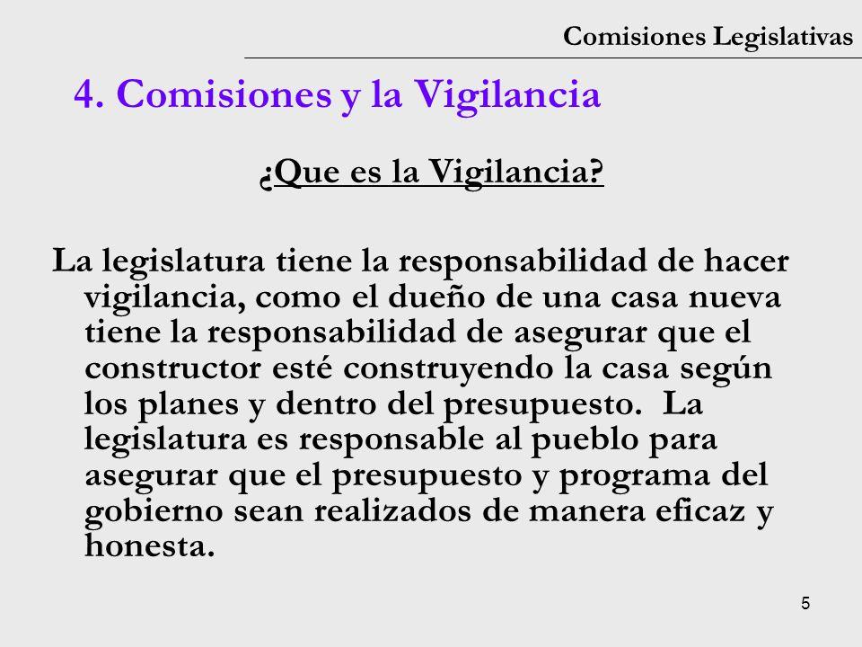 5 Comisiones Legislativas ¿Que es la Vigilancia? La legislatura tiene la responsabilidad de hacer vigilancia, como el dueño de una casa nueva tiene la