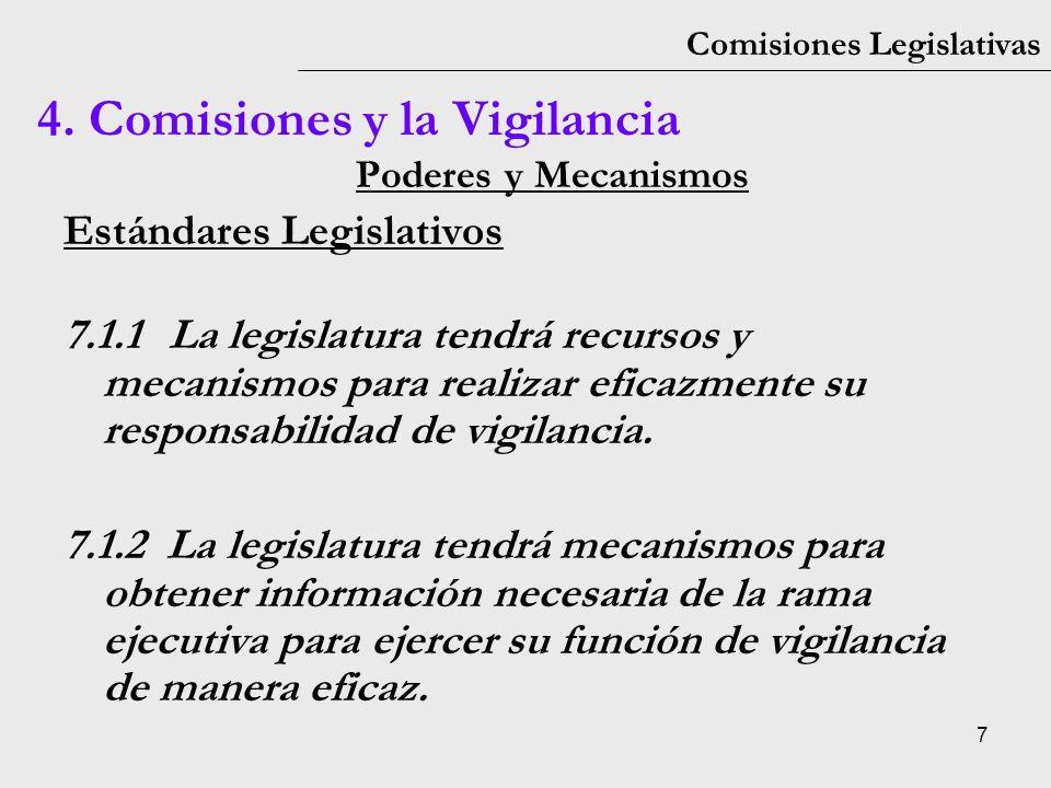 7 Comisiones Legislativas Poderes y Mecanismos Estándares Legislativos 7.1.1La legislatura tendrá recursos y mecanismos para realizar eficazmente su r