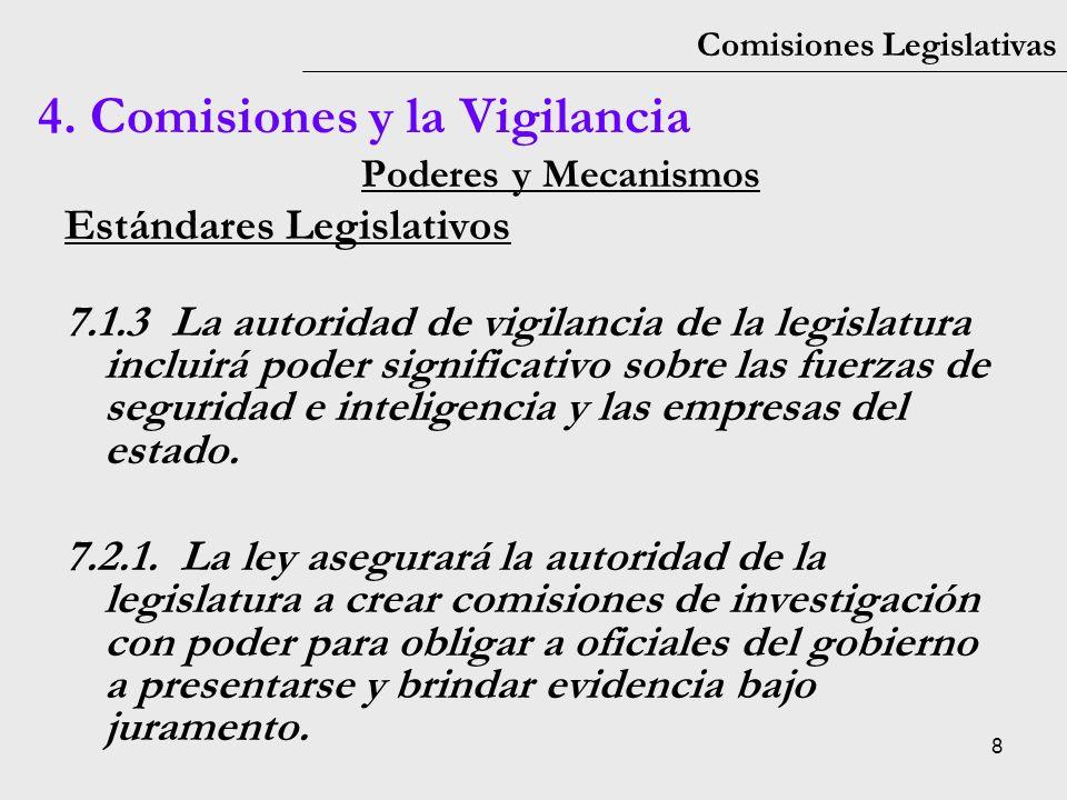 8 Comisiones Legislativas Poderes y Mecanismos Estándares Legislativos 7.1.3La autoridad de vigilancia de la legislatura incluirá poder significativo