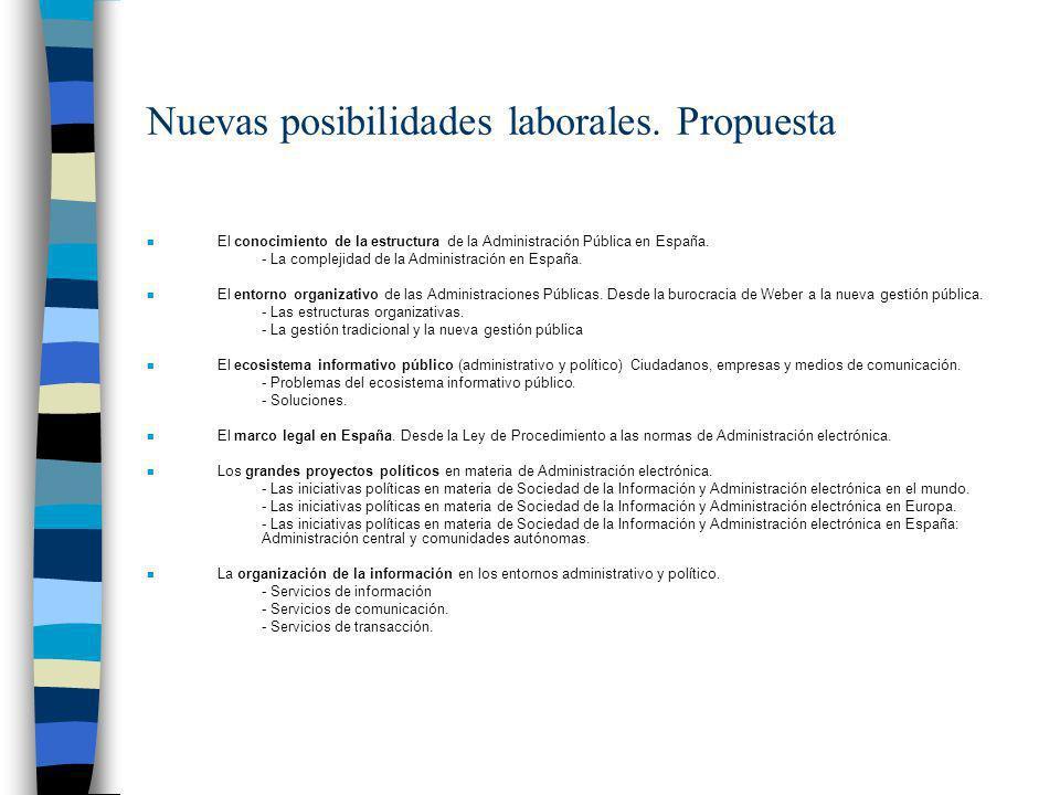 Nuevas posibilidades laborales. Propuesta n El conocimiento de la estructura de la Administración Pública en España. - La complejidad de la Administra