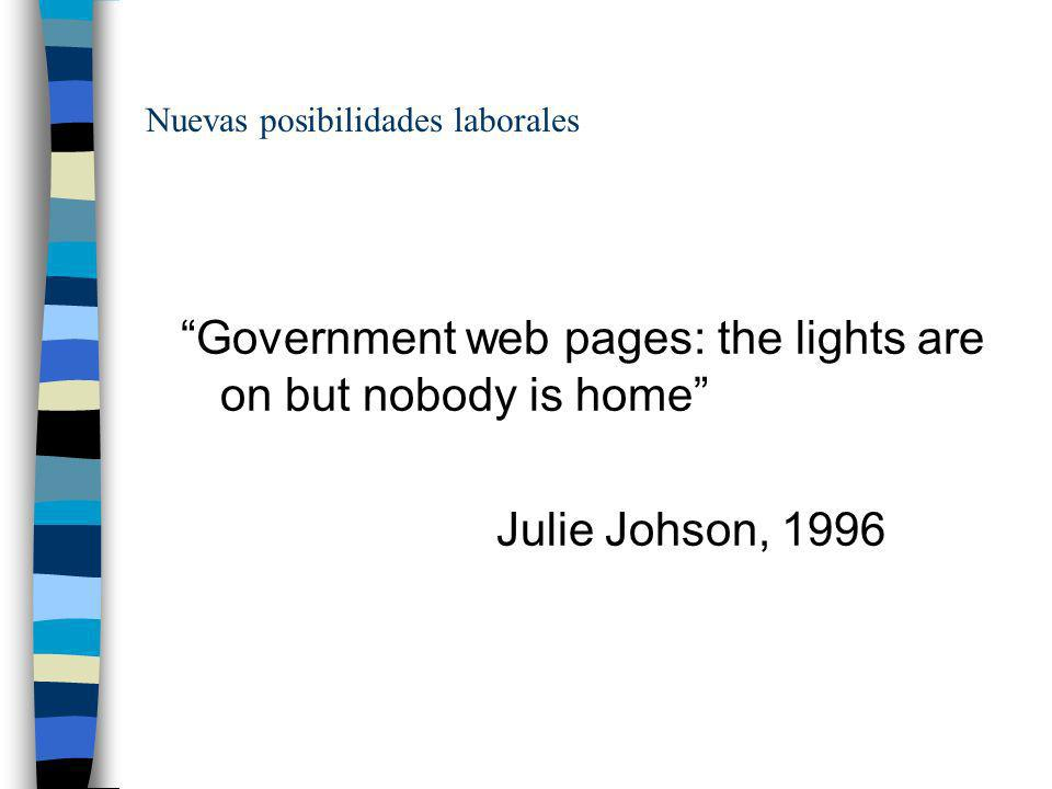 Nuevas posibilidades laborales Government web pages: the lights are on but nobody is home Julie Johson, 1996